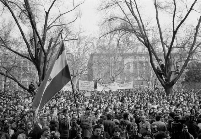 HUNGARY. Budapest. 15/03/1989: Opposition demonstration before the change of regime in Hungary.