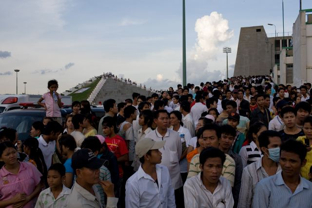 Cambodia, crowd outside stadium