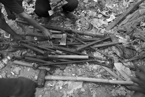 CAMBODIA. Phnom Penh. 24/01/2009: Tools of the workers hired to destroy houses during the final eviction of Dey Krohom.
